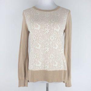 Ann Taylor Loft M Petite Tan White Lace Sweater